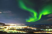 Northern lights above Reykjavik Iceland — Photo