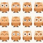 Seamless owls birds pattern — Stock Vector #58430903