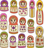 Russian dolls — Stock Vector
