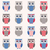 Owls cartoon background — Vetor de Stock