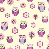 Owls and flowers pattern — Stock Vector