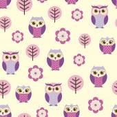 Owls and flowers pattern — Vetor de Stock