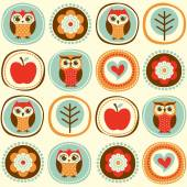 Owls cartoon wallpaper — Stockvektor
