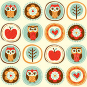 Owls cartoon wallpaper — Vetor de Stock