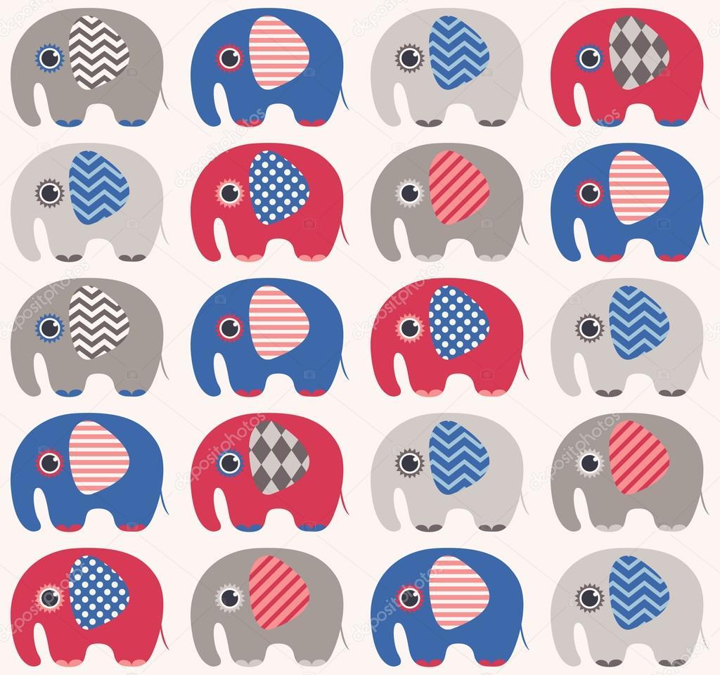 无缝的可爱大象图案– 图库插图