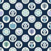 Owls cartoon pattern — Vector de stock