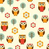 Owl cartoon pattern — Vector de stock