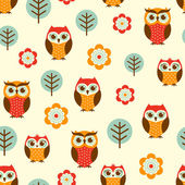 Owl cartoon pattern — Vettoriale Stock