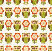 Owl cartoon pattern — Stock Vector
