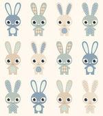 Rabbits retro pattern — Stock Vector
