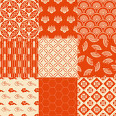 Orange Japanese traditional mesh — Stock Vector