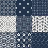 Dark blue  Japanese traditional mesh — Stock Vector