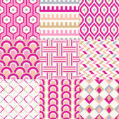 Set of seamless retro geometric pattern — Stock Vector