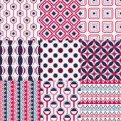 Set van naadloze retro geometrische patroon — Stockvector
