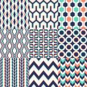 Set of seamless retro geometric pattern — Stock Vector