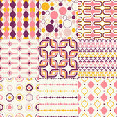 Retro geometric pattern set — Stock Vector
