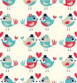 Seamless birds love  cute background — Stock Vector