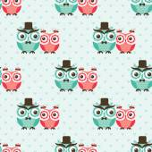 Seamless owls birds pattern — Stock Vector