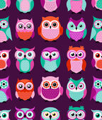 Seamless owls birds pattern — Stock Vector