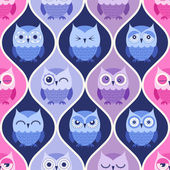 Seamless cartoon owls pattern — Stock Vector