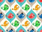 Cartoon vogels patroon — Stockvector