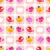 Cartoon cute birds pattern — Stock Vector