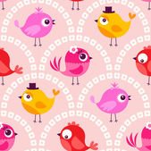 Cartoon birds wallpaper — Stock Vector