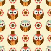 Owls cartoon pattern — Stock Vector