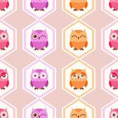 Owls cartoon pattern — Stock Vector