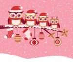 Постер, плакат: Christmas card with owls
