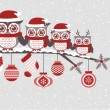 Постер, плакат: Christmas card with owls