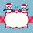 Постер, плакат: Cartoon owls christmas background