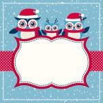 Постер, плакат: Cartoon owls christmas background
