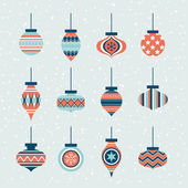 Set of  christmas balls with ornaments — Stock Vector