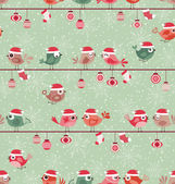 Seamless birds christmas pattern — Stock Vector