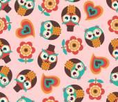 Seamless cartoon owls pattern — Stock Vector