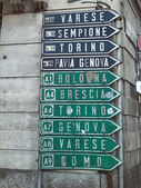 Milan road direction signs — Stock Photo
