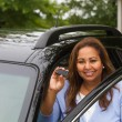 Woman holding the key to a new car — Stock Photo #59301953