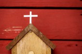 Wooden church and cross — Stock Photo