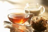 Tea, brown sugar and milk  — Stock Photo