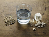 Three ingredients of Scottish whiskey: water, yeast and malted b — Stock Photo