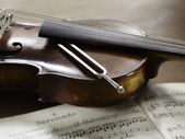 Violin, musical notes and tuning fork  — ストック写真