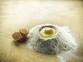 Flour and egg preparation of the dough. Horizontal — Stock Photo