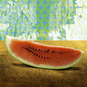 A slice of juicy watermelon on a wooden board — Stock Photo