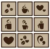 Plochá kávy ikony — Stock vektor