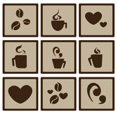 Platte koffie pictogrammen — Stockvector