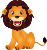 The Cute Lion Vector Cartoon Illustration — Vector de stock