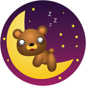 Teddy Bear Sleep Vector Cartoon Illustration — Stok Vektör