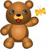 Teddy Bear And Butterfly Vector Cartoon Illustration — Stok Vektör