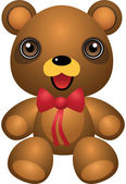 Teddy Bear Ribbon Vector Cartoon Illustration — ストックベクタ